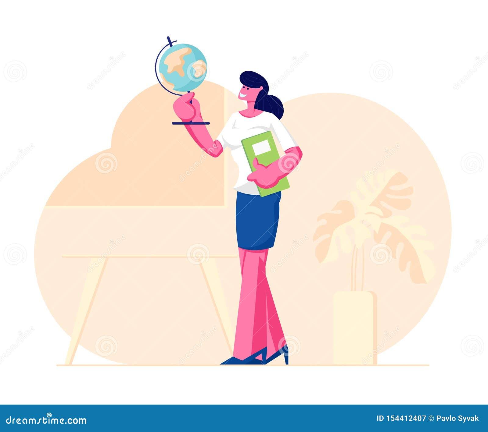 Suporte do jornal do globo e da classe de Woman Character Holding do professor da geografia no fundo da sala de aula com tabela,