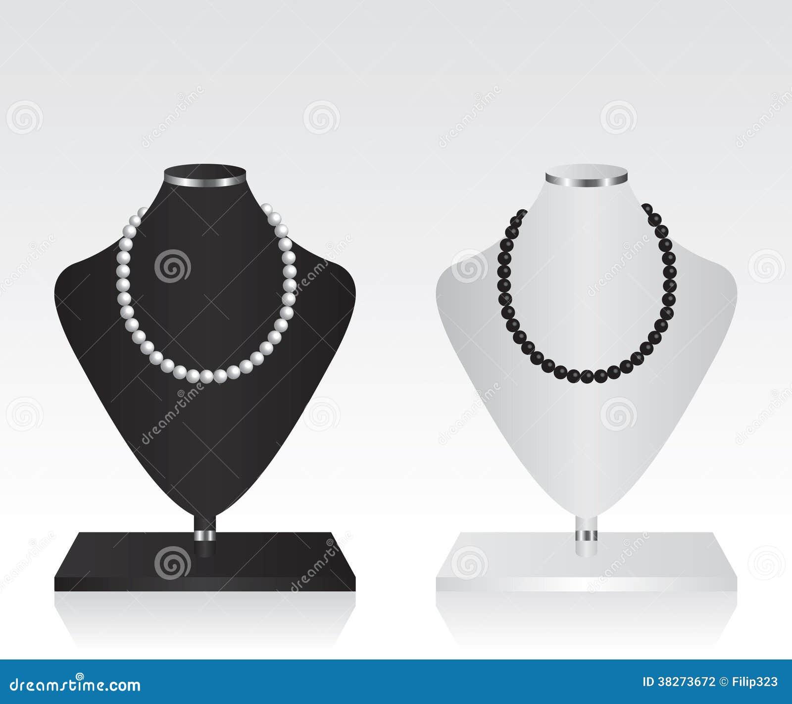 Suporte preto e branco da joia do manequim fotografia de for Jewelry stand 3d model