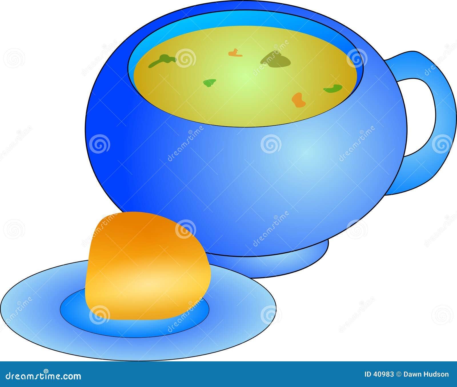 Download Suppe und Rolle stock abbildung. Illustration von diät, mittagessen - 40983