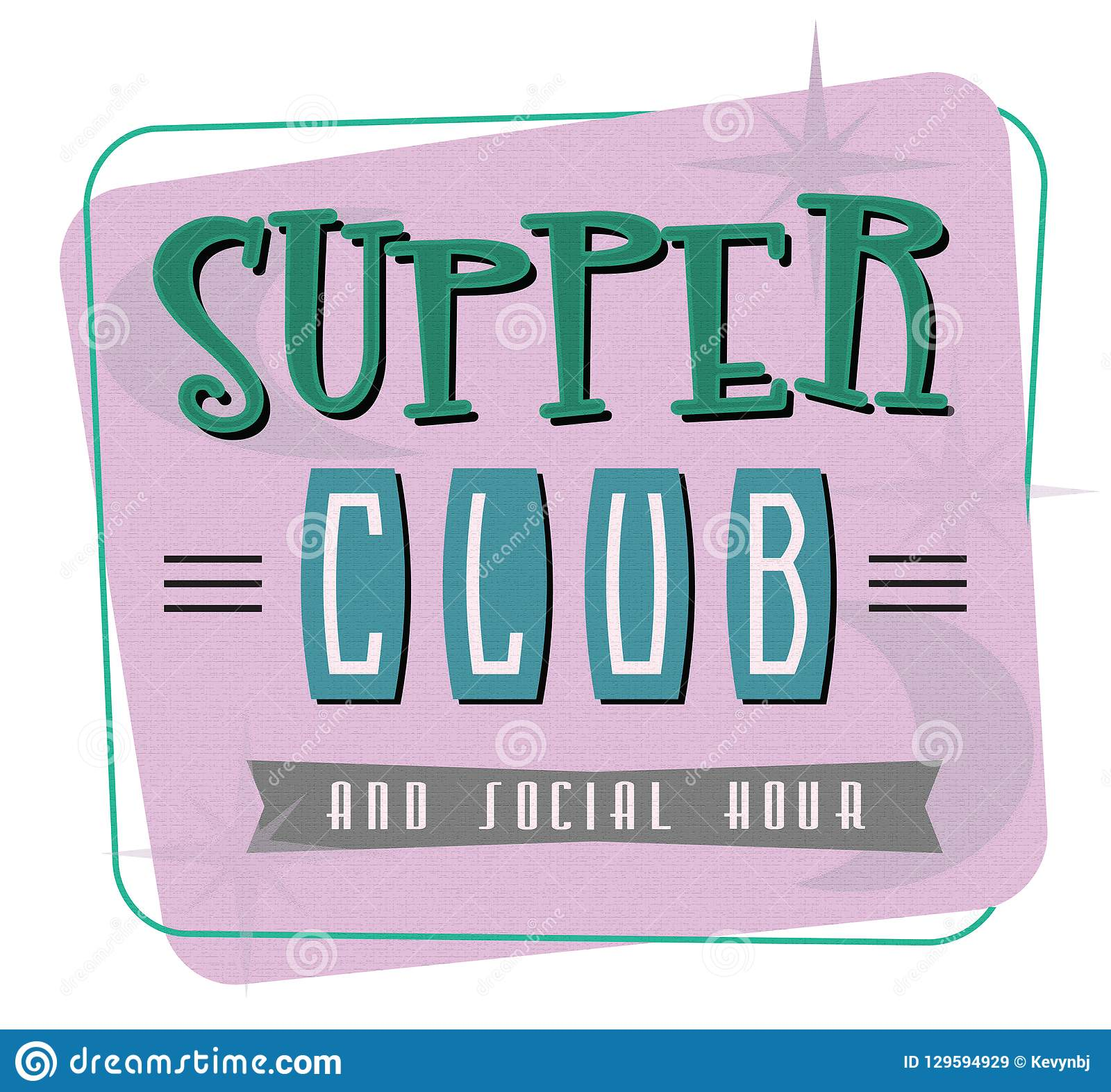 Supper Club Invitation Art Mid Century Modern