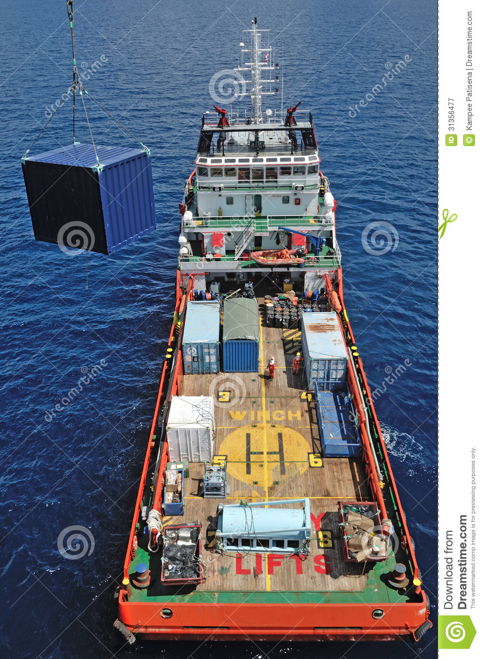 Supply Boat For Offshore Oil Rig Operation. Royalty Free Stock Photography - Image: 31356477