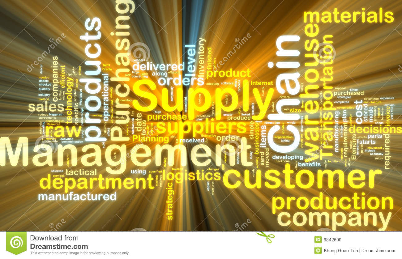Supply chain management wordcloud glowing