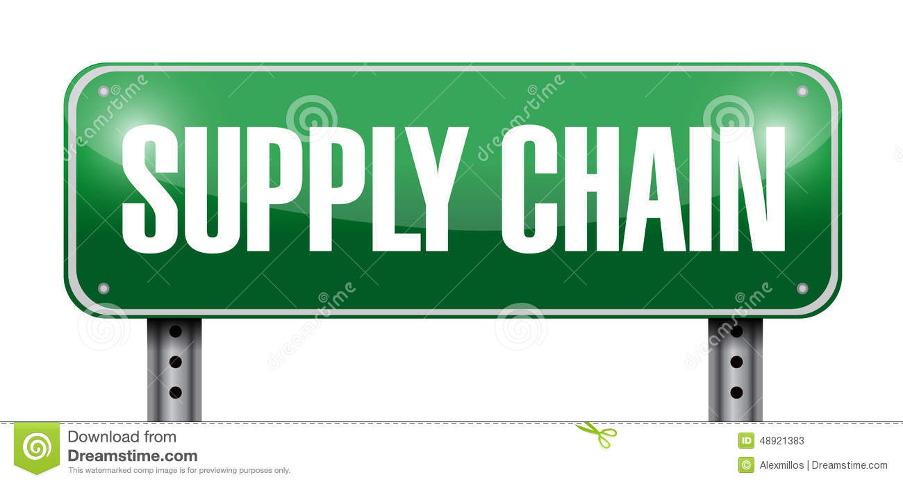 Supply Chain Street Sign Illustration Design Stock Image