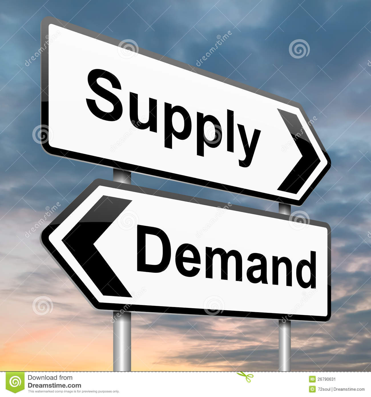 Illustration depicting a roadsign with a supply or demand concept ...