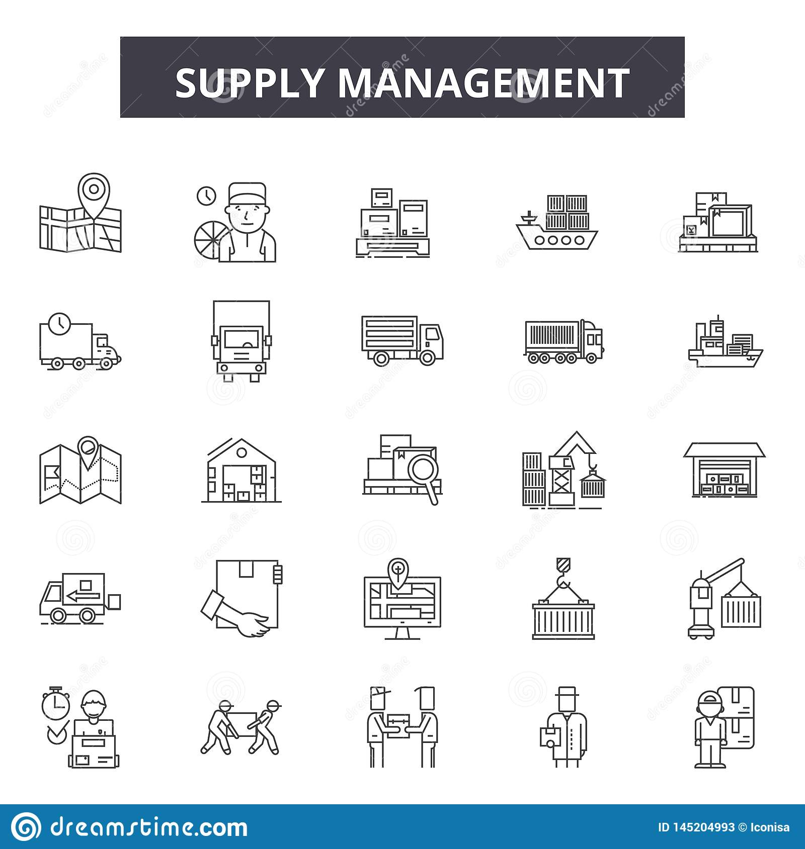 Supply management line icons, signs, vector set, outline illustration concept