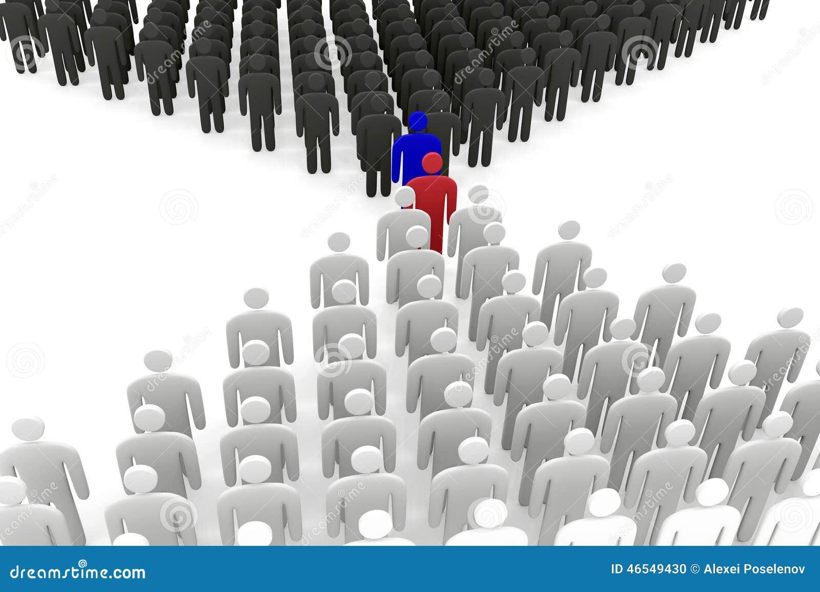 Support abstrait de deux groupes d hommes avant l un l autre