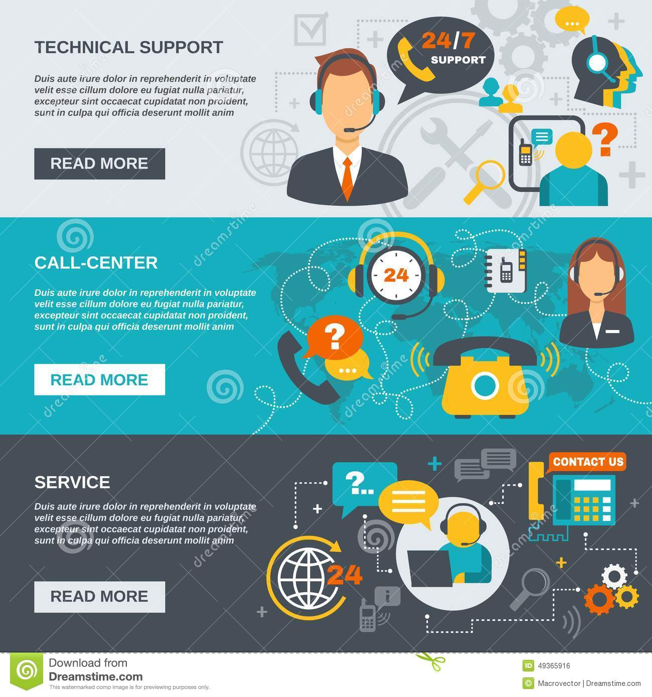 Support Call Center Banner Stock Vector Illustration Of