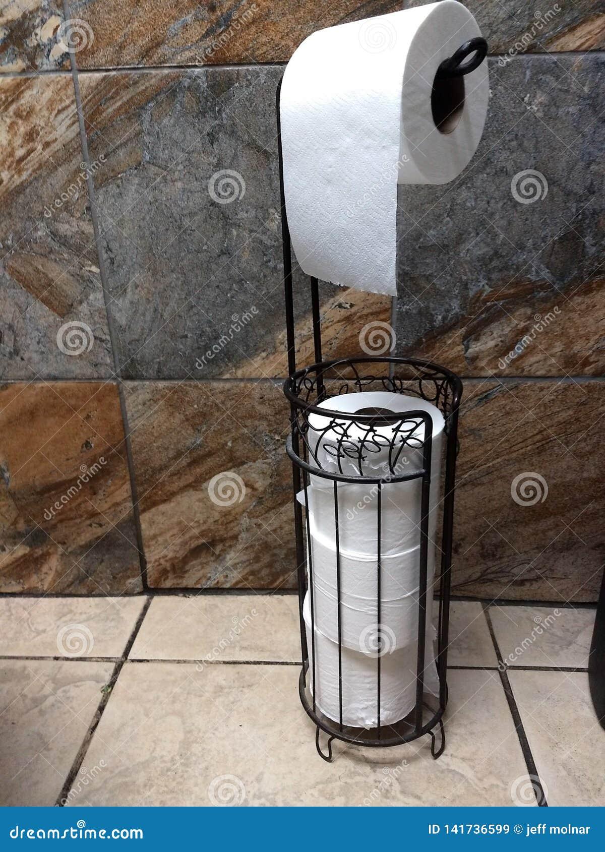 Support de papier hygiénique debout accrochant pour rouler le fond d image supplémentaire de maison de salle de bains de restaura