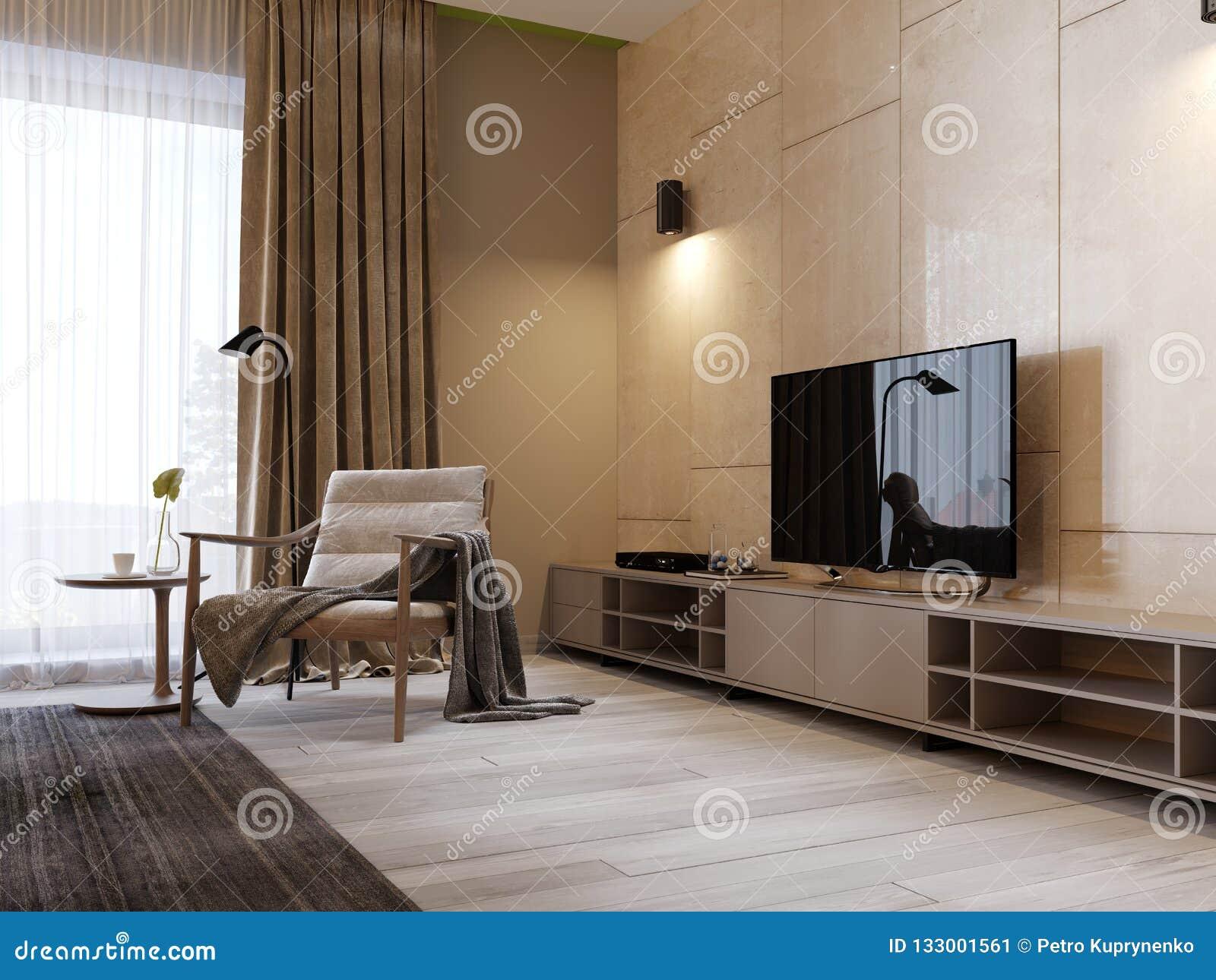 Support Moderne De TV Avec Des étagères Et Une TV Plus De ...