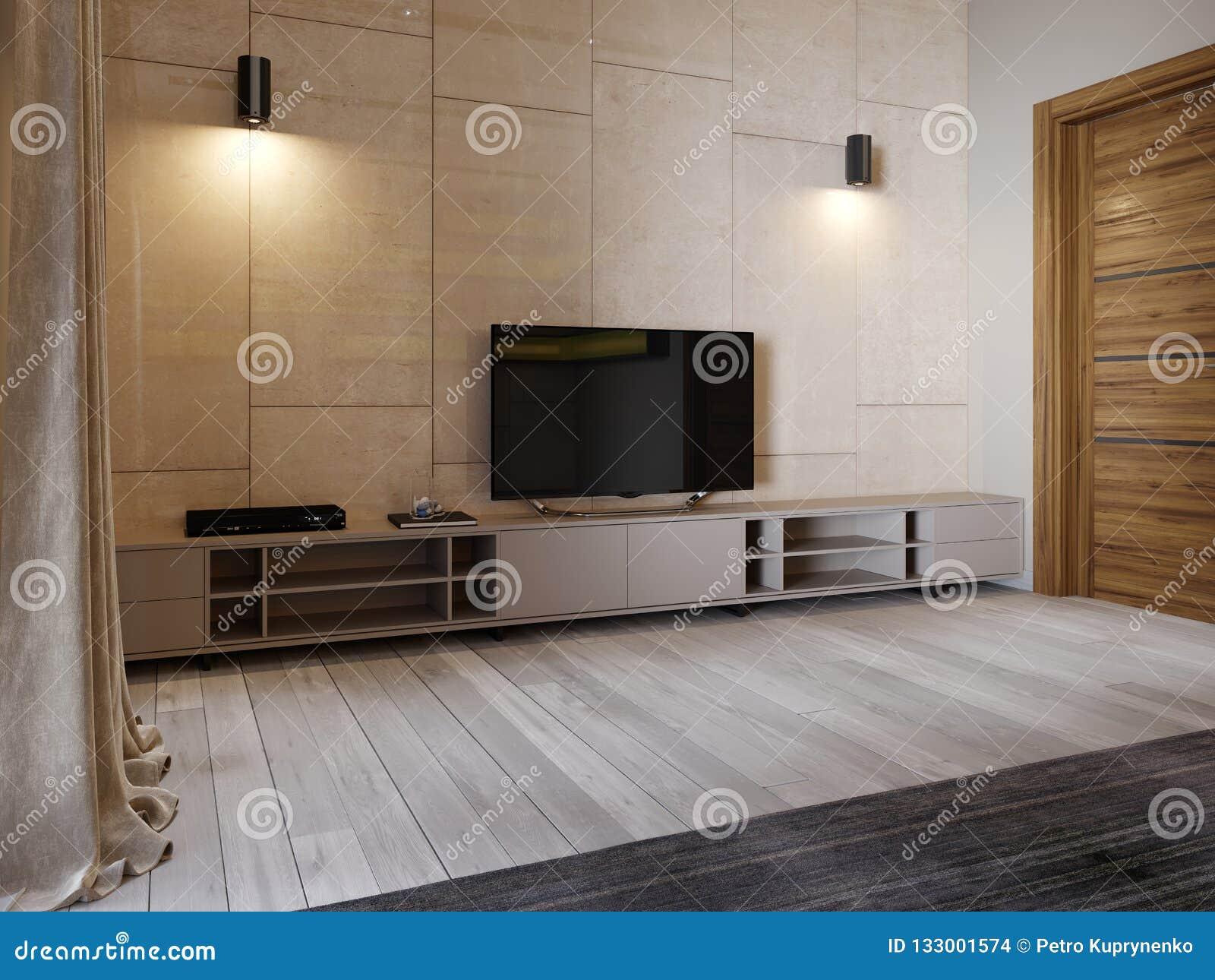 Support moderne de TV avec des étagères et une TV plus de sur le mur de couleur beige de panenley brillant Chambre à coucher avec