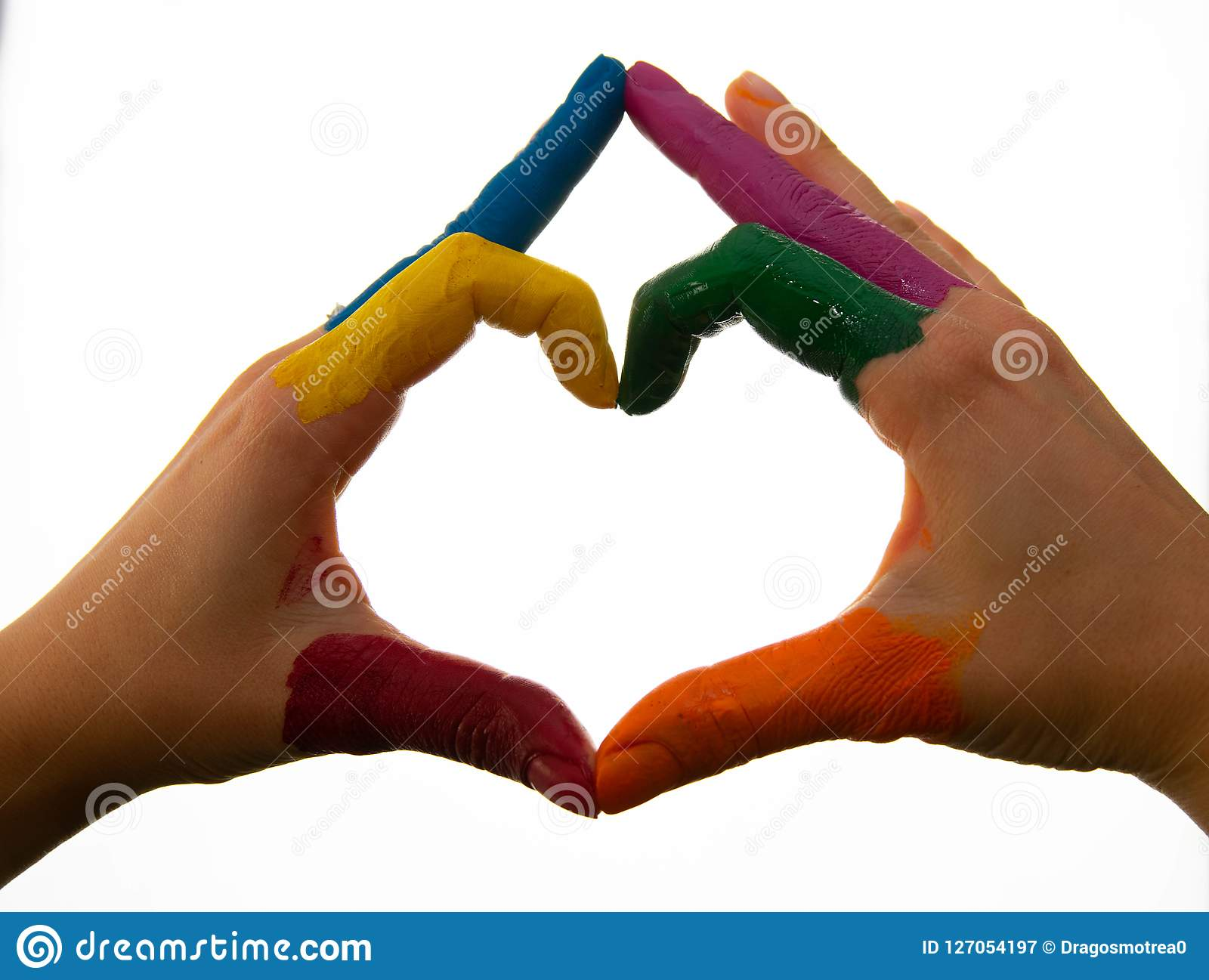 supporting hands make a heat sign showing homosexuality colours