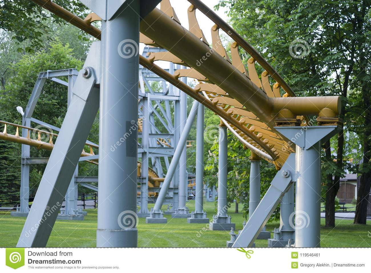 The supporting structure of the roller coaster.