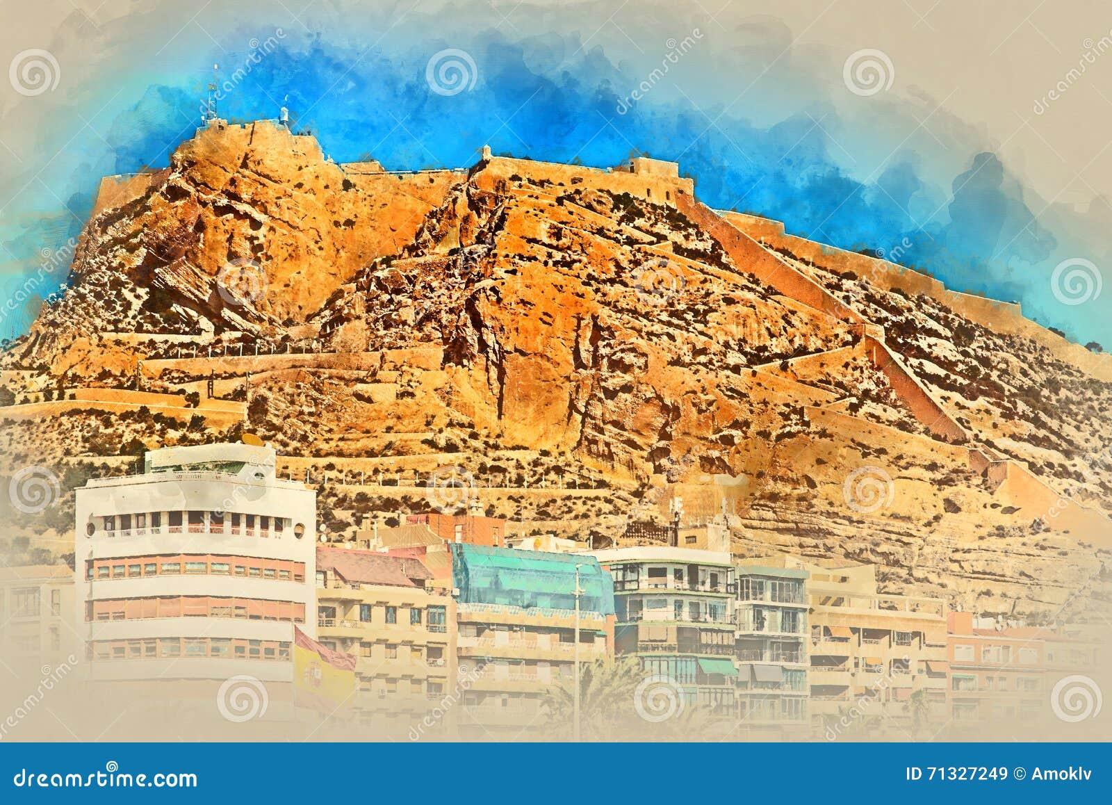 Supporto Benacantil con il castello di Santa Barbara Alicante