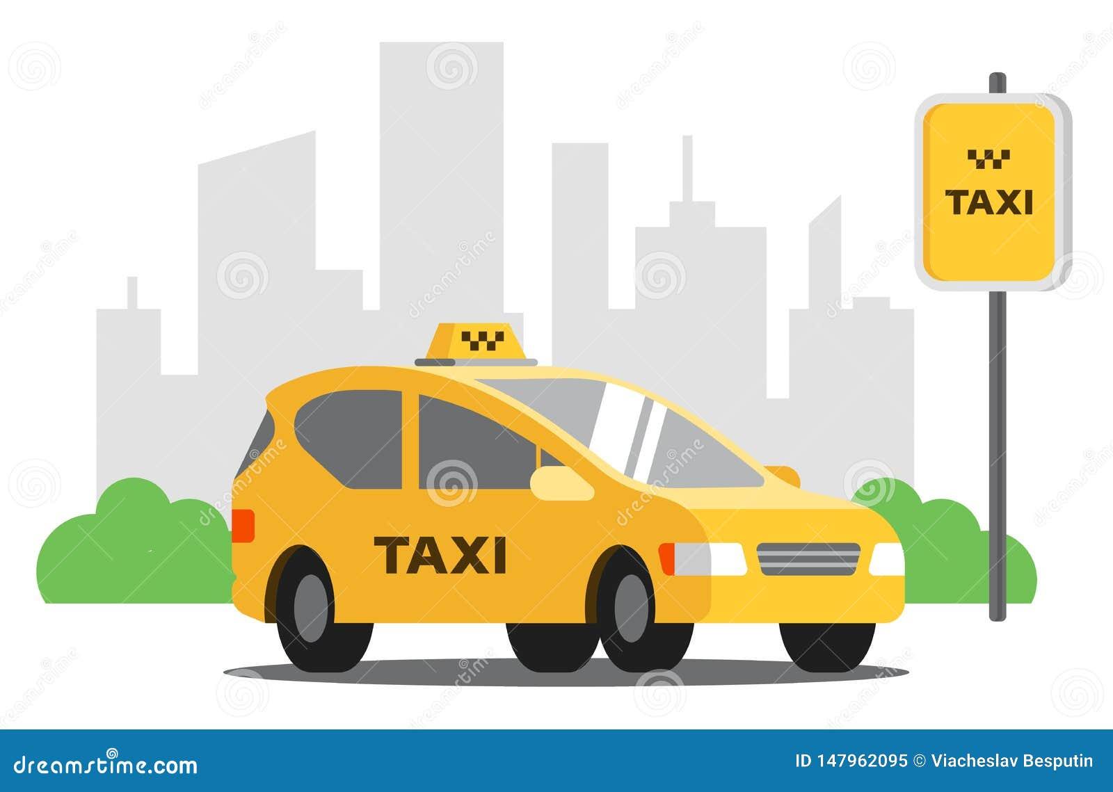 Supports de taxi jaunes dans le parking sur le fond de la ville