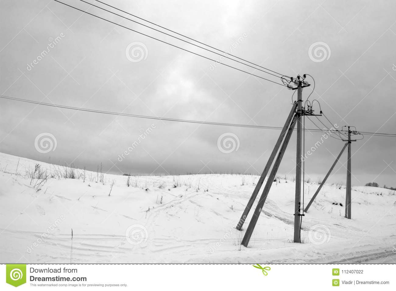 Supports And Wires Of Electric Transmission Line Stock Photo - Image ...
