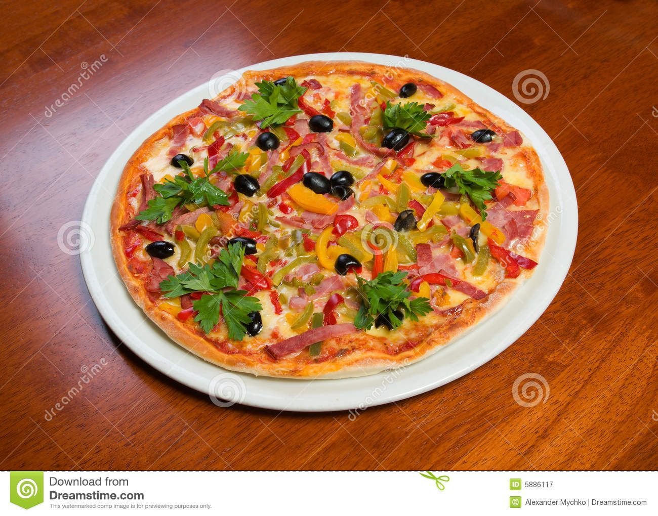 Supreme Pizza In Pan Royalty Free Stock Photography - Image: 5886117
