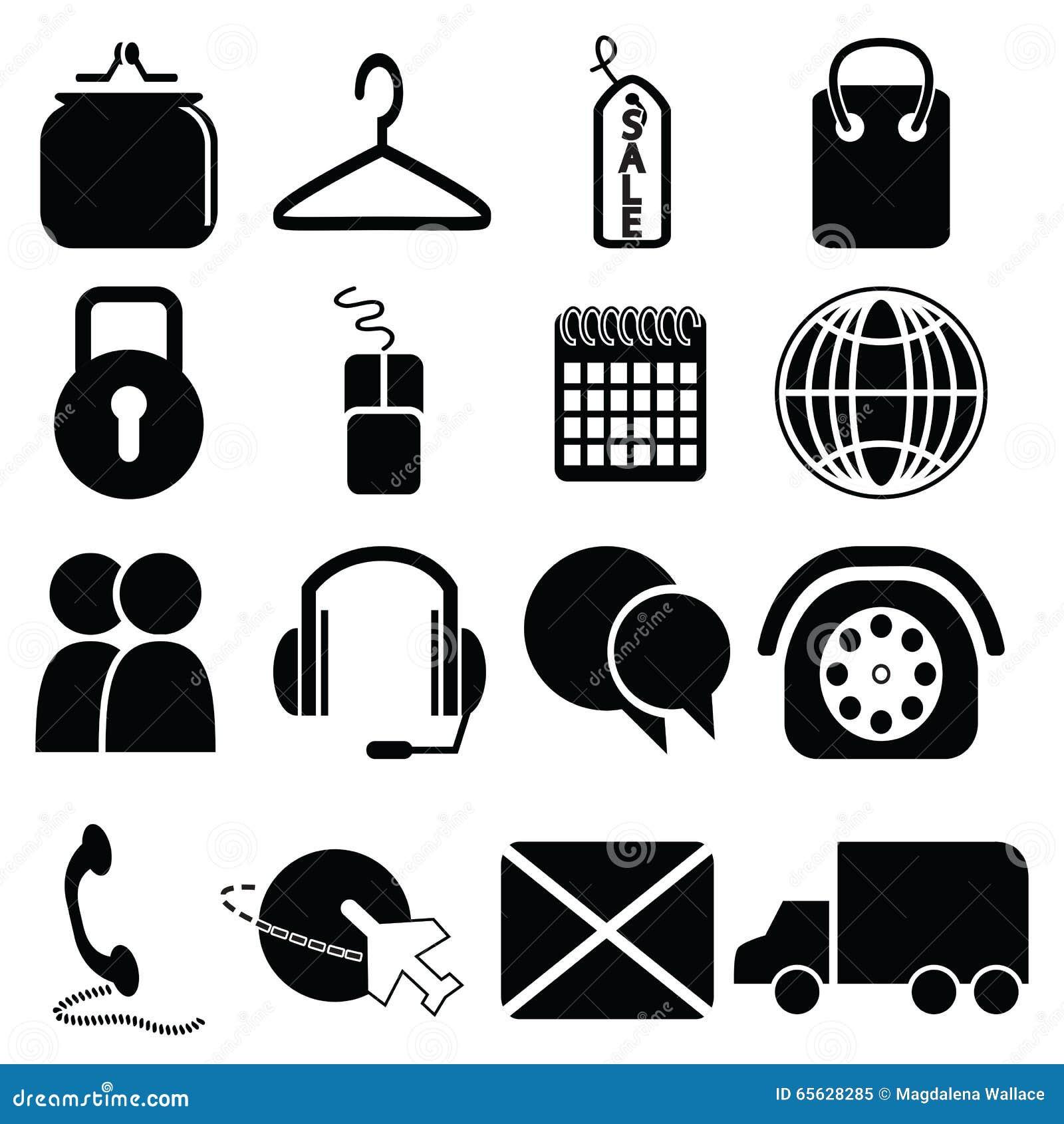Sur la ligne icônes d achats : la bourse, sac, label de vente, cadenas de sécurité, souris, clic et se rassemblent, la livraison