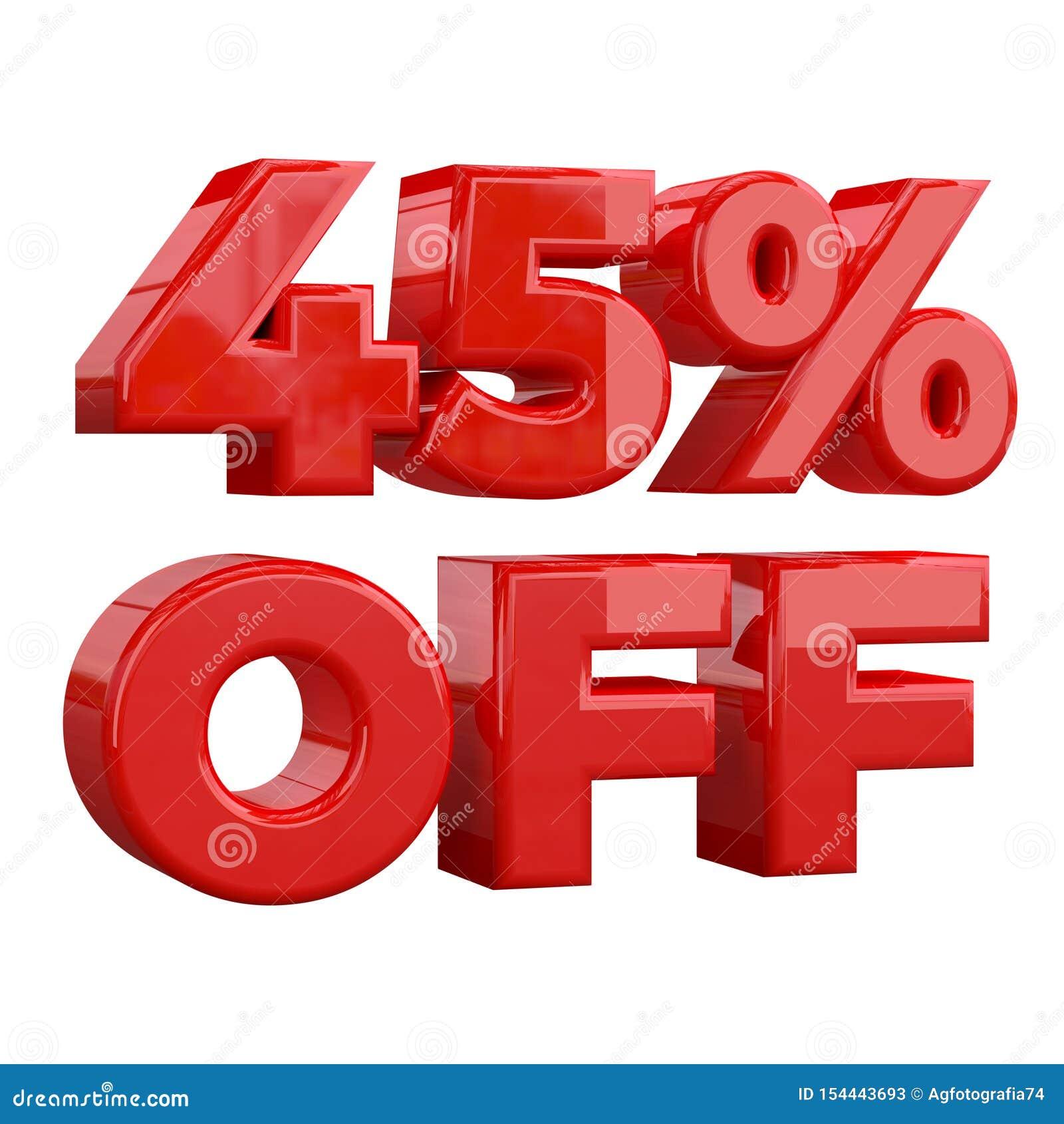 45  sur le fond blanc, offre spéciale, grande offre, vente quarante-cinq pour cent outre de bannière de publicité promotionnelle,