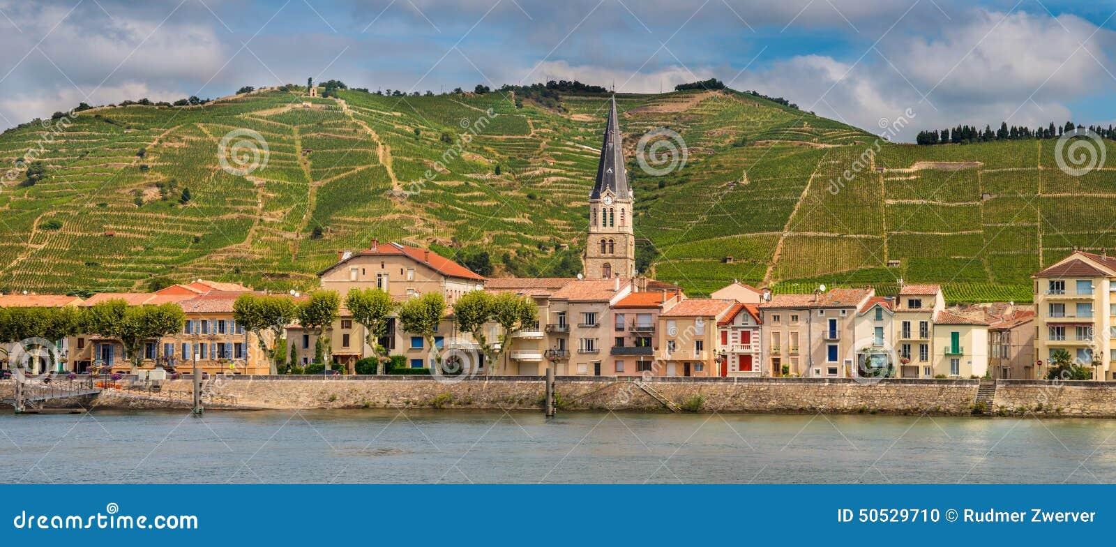 Sur le Rhône de Tournon de panorama