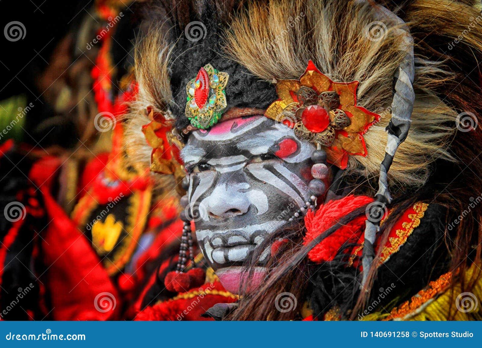 Surabaya indonesia. July 22, 2016. A man is dressed up as a barong at the Citraland Festival in Surabaya