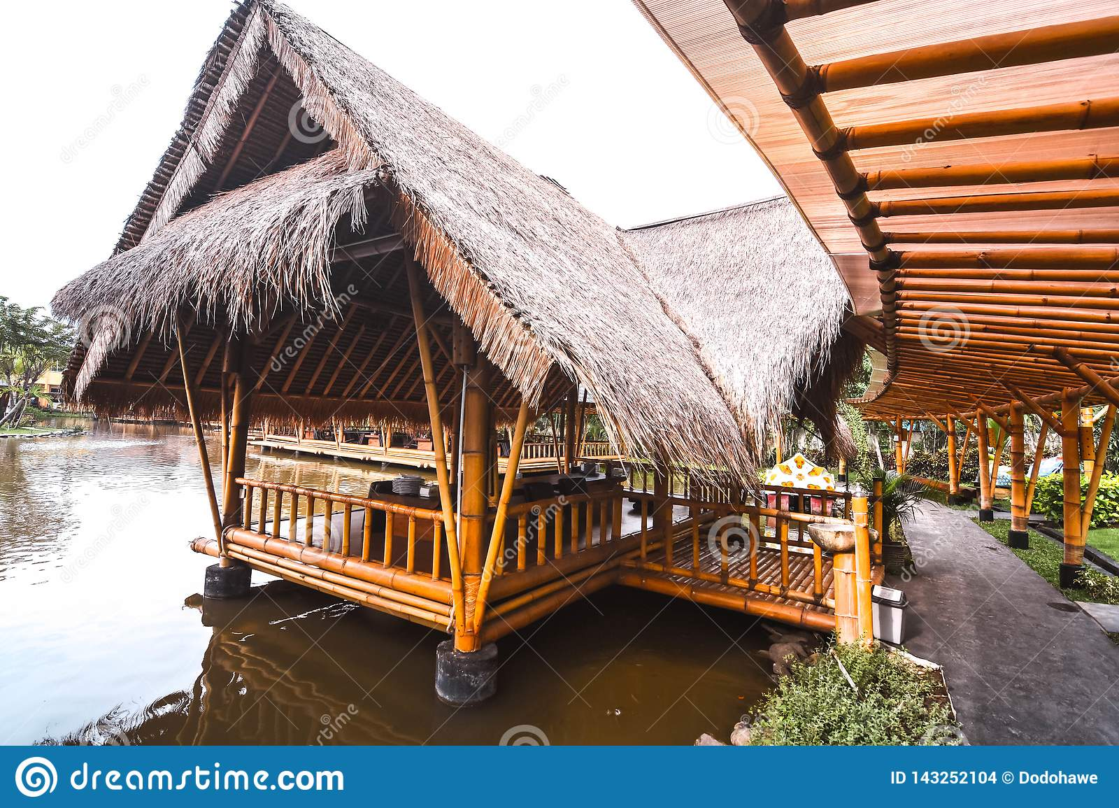 The Atmosphere Inside Of The Restaurant The Building Made By Bamboo Editorial Stock Image Image Of Green Building 143252104