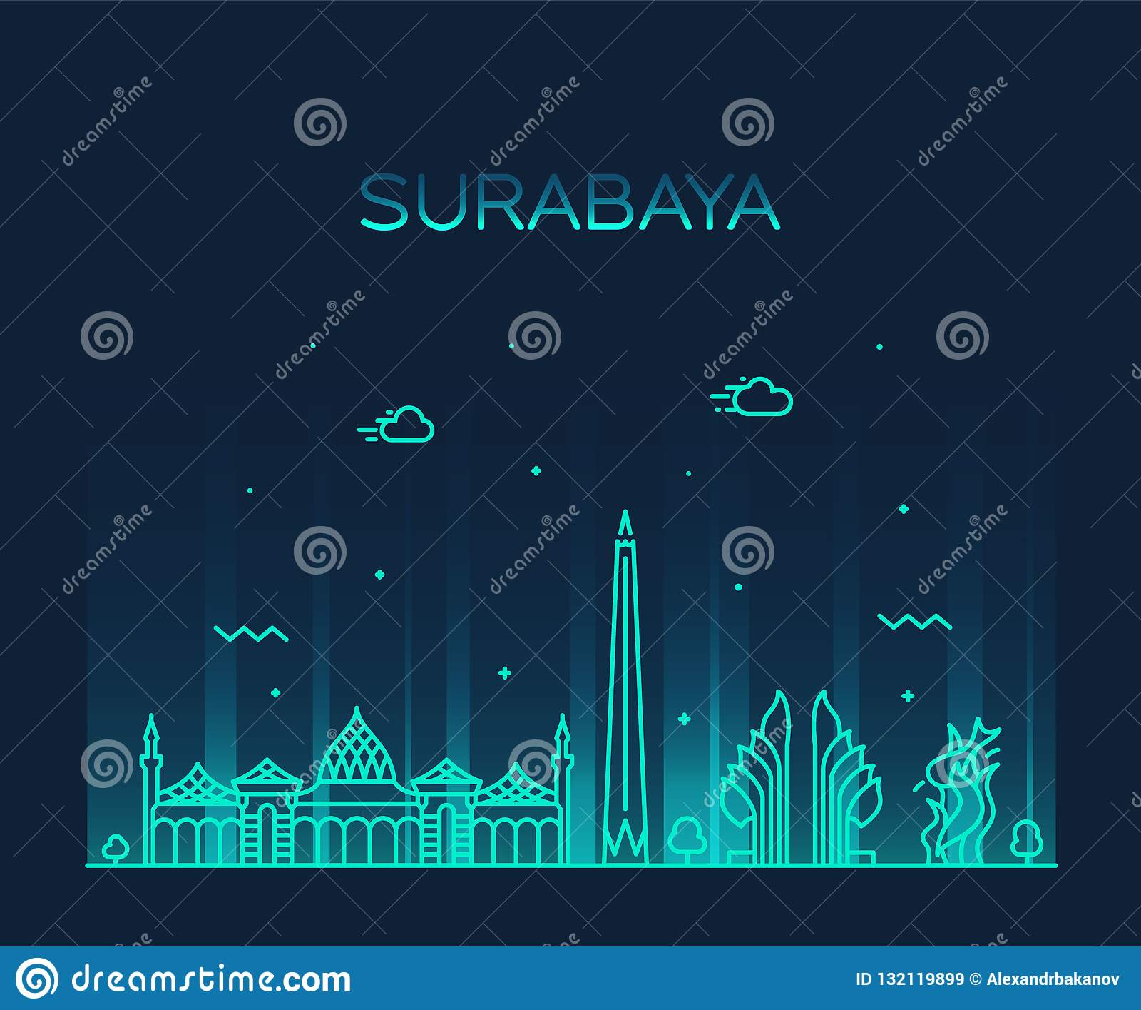 Indonesia Architecture Landmarks Skyline Cartoon Vector