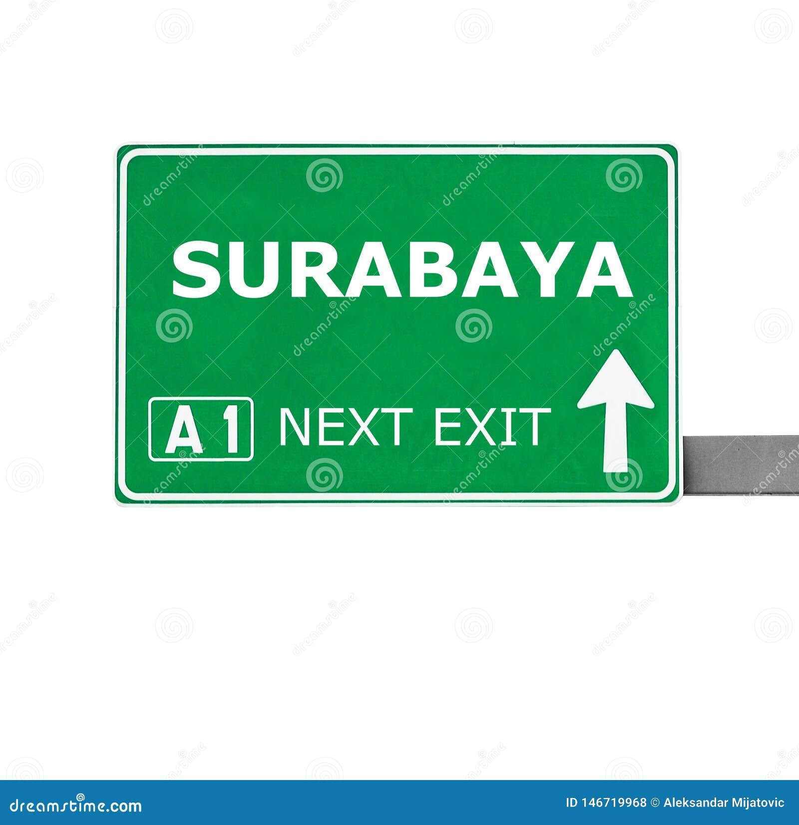 SURABAYA-Verkehrsschild lokalisiert auf Weiß