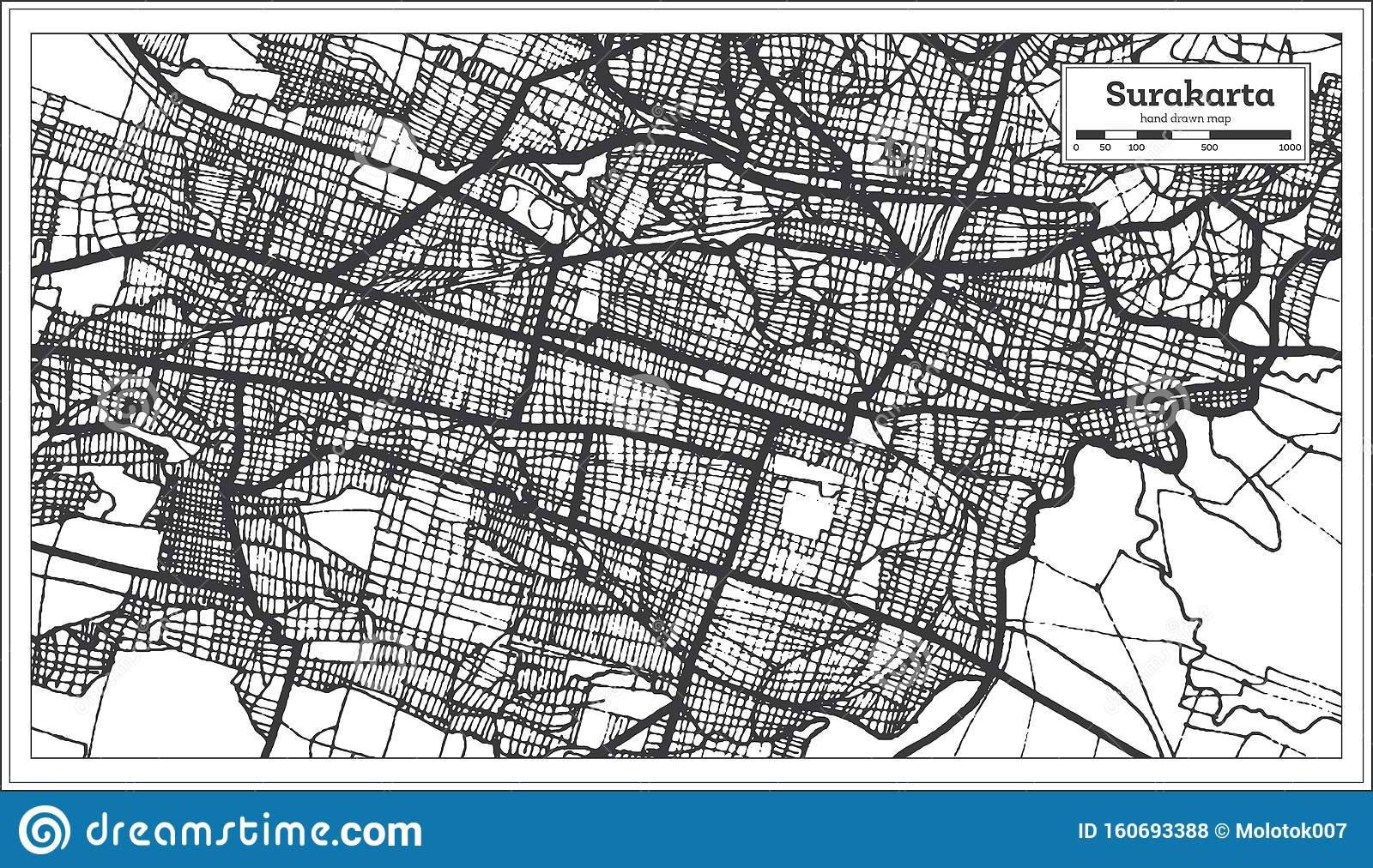 Surakarta Indonesia City Map In Black And White Color ...