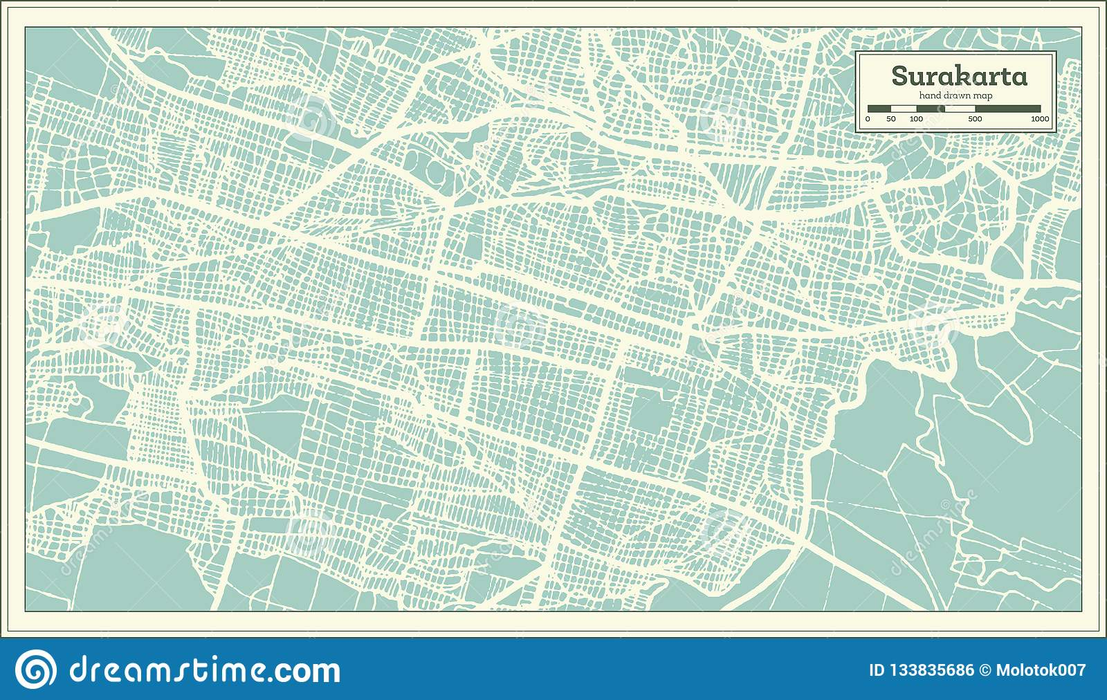 Surakarta Indonesia City Map In Retro Style. Outline Map ...