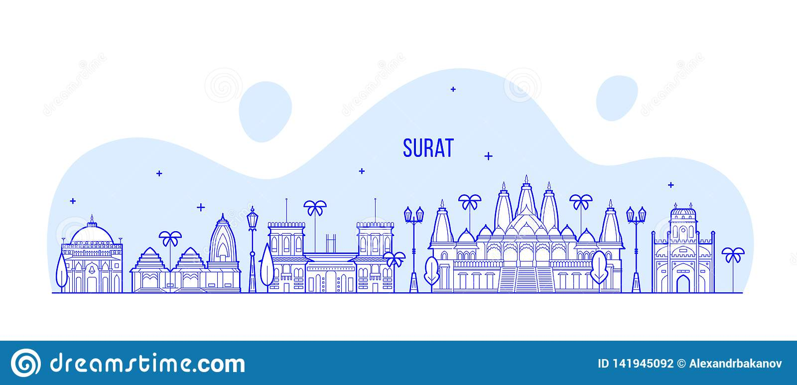 Surat Skyline Gujarat India City Buildings Vector Stock