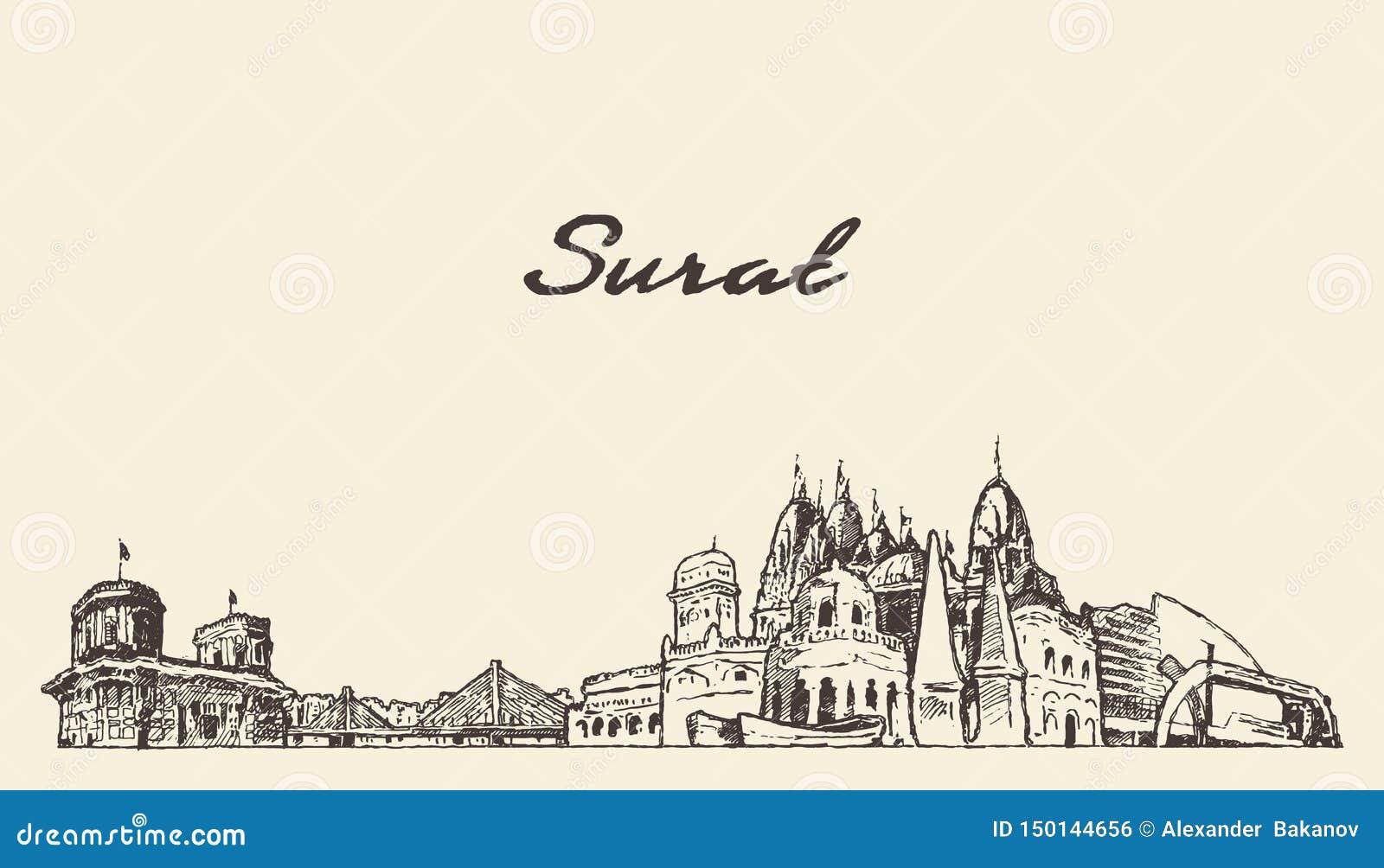 Surat Skyline Gujarat India Drawn Vector Sketch Stock