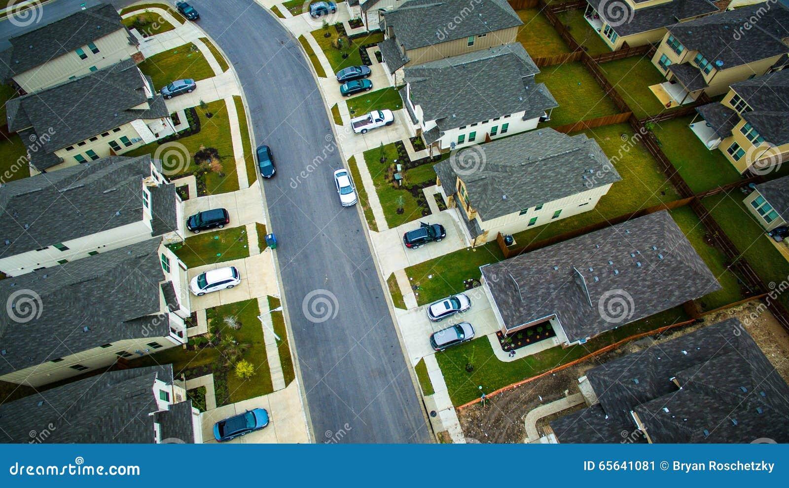 Surburbia aérien au-dessus de la Communauté Austin Texas de voisinage de Chambres