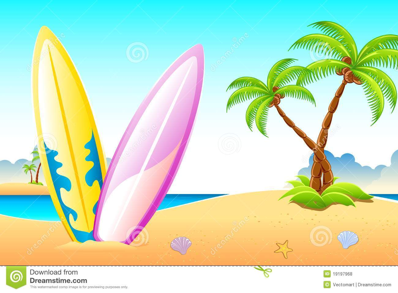 Surf Board On Sea Beach Royalty Free Stock Photos - Image: 19197968