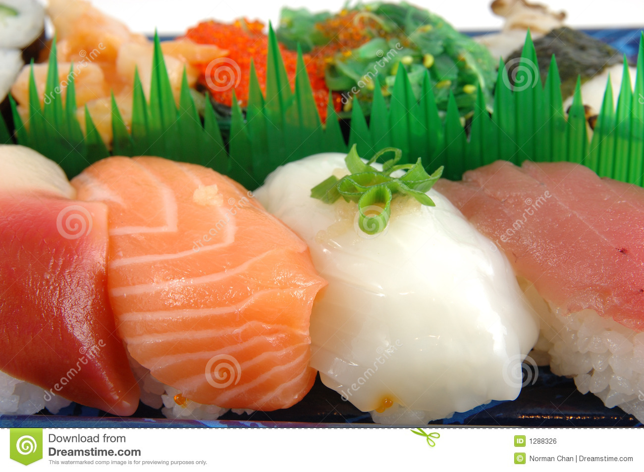 Surf Clam, Salmon, Squid And Tuna Sushi Royalty Free Stock ...
