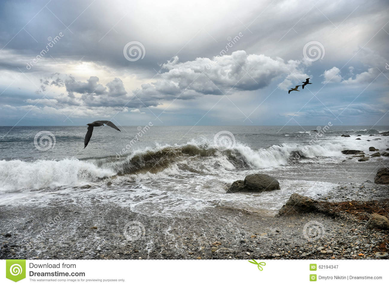 Surf in cloudy weather