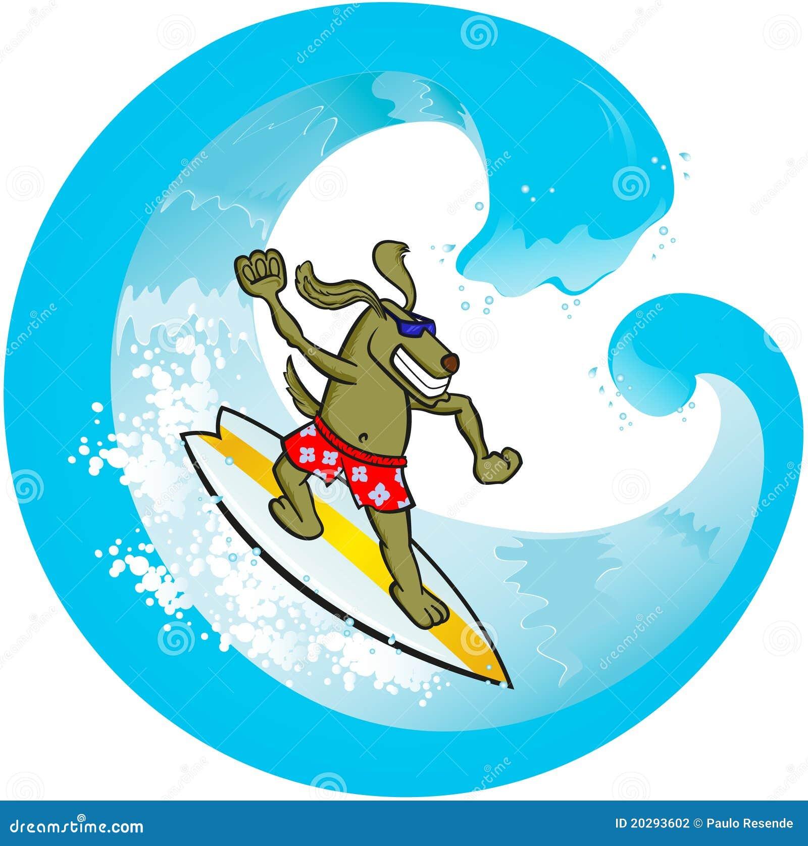 Surf dog stock vector. Illustration of cartoon, beach ...