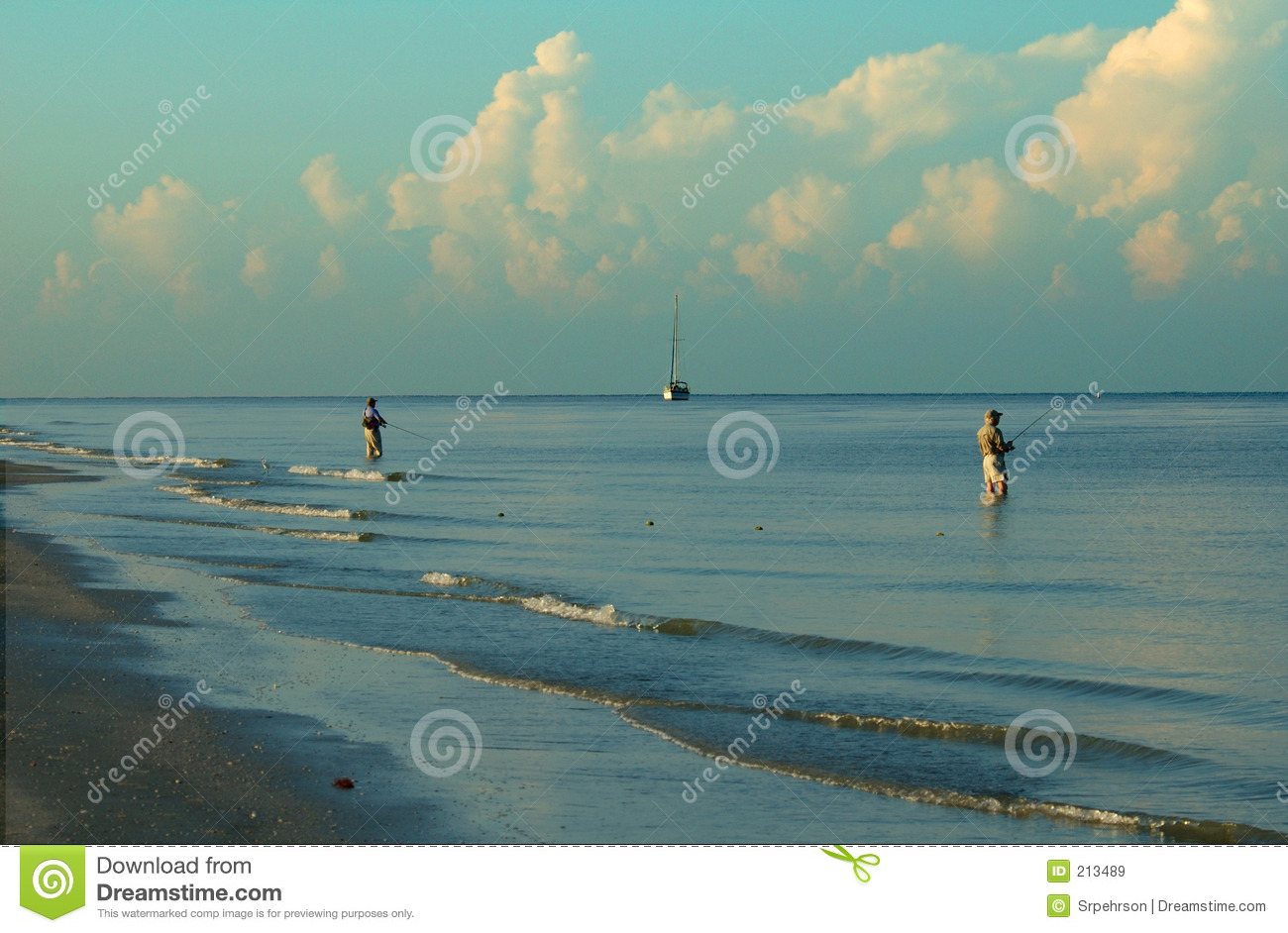 Surf fishing fort myers beach florida royalty free stock for Fishing in fort myers