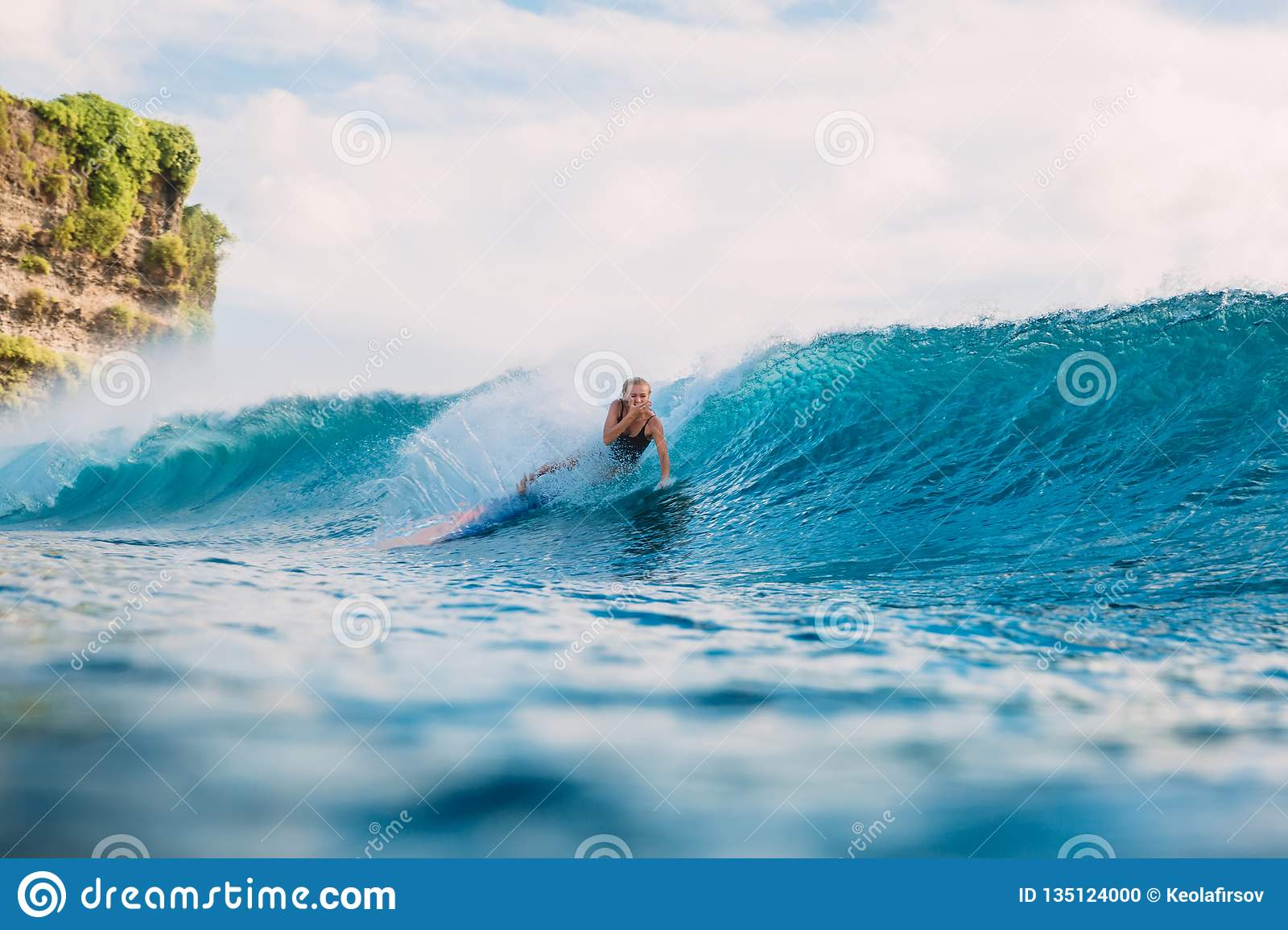 Surf Girl On Surfboard Wipeout Of Surfer Woman From Surfboard On