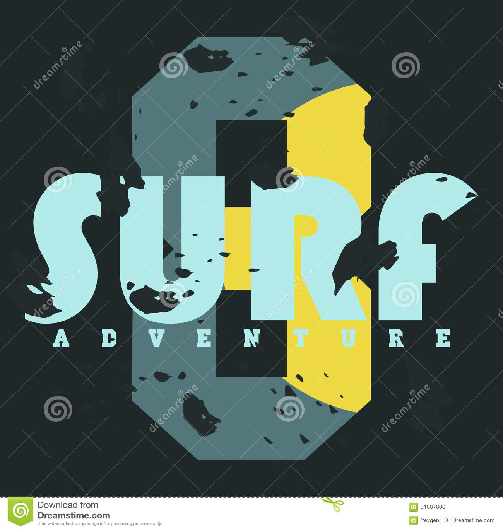 Surf Graphiques de T-shirt Typographie de vintage, graphiques de T-shirt, affiche, bannière, textile, habillement