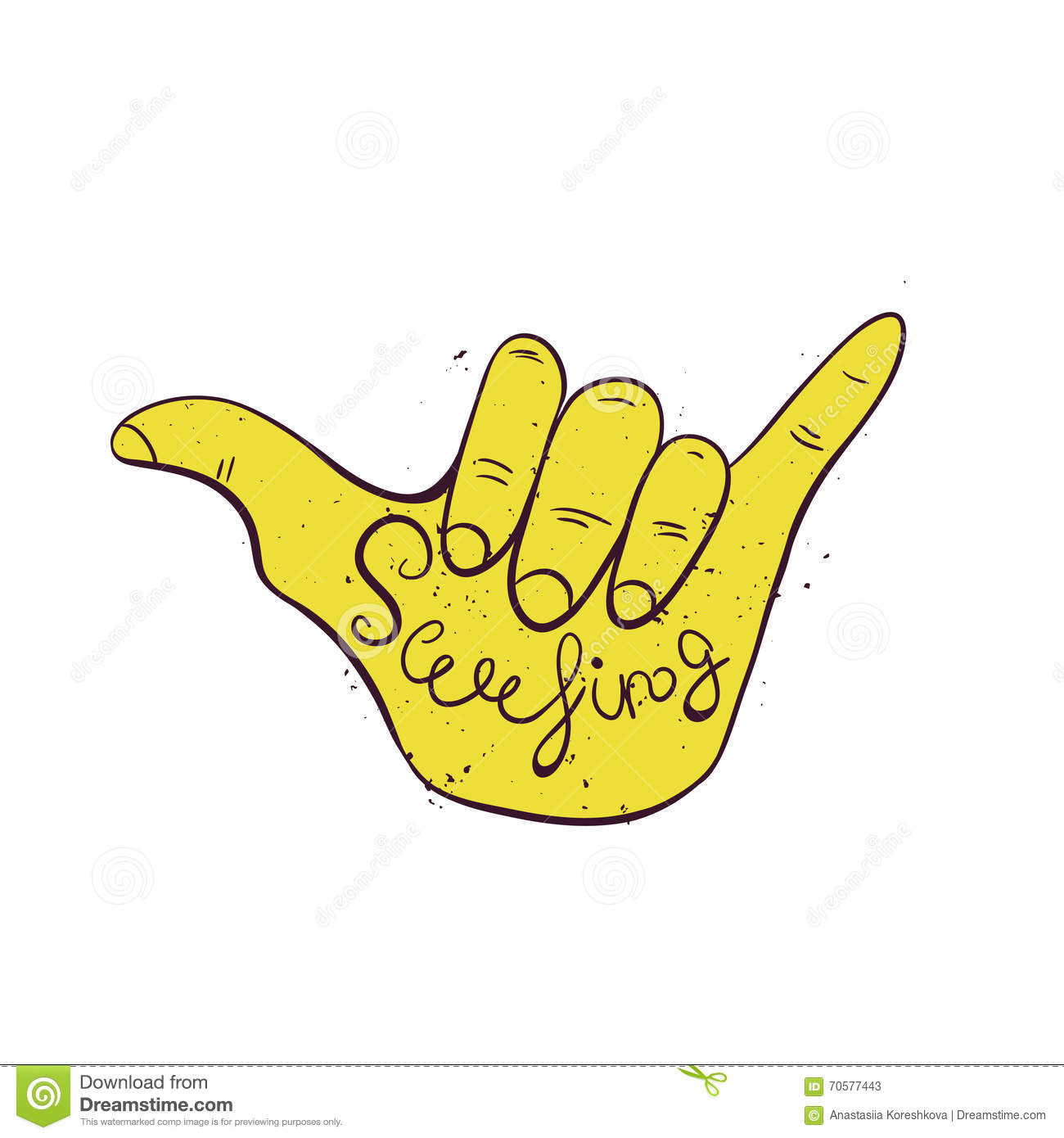 surf hand sign hang loose surfers gesture stock vector