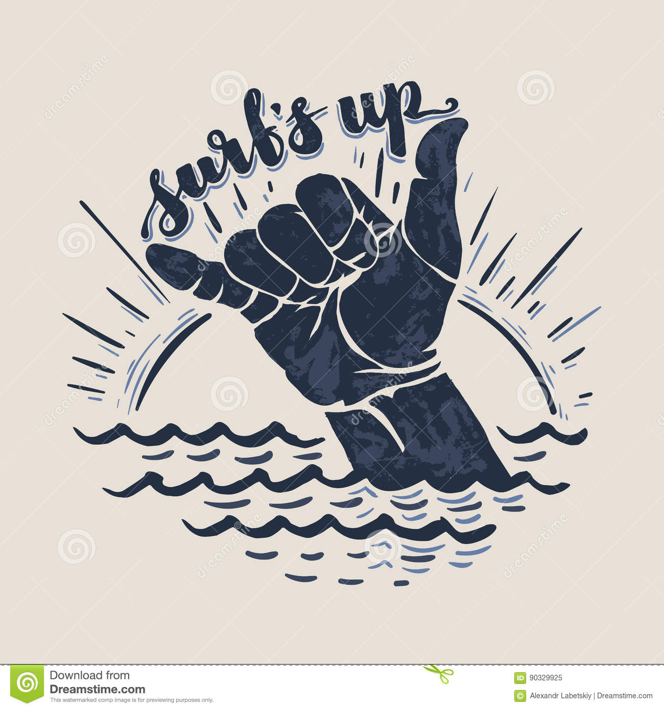 surf hand sign stock vector image of illustration ocean