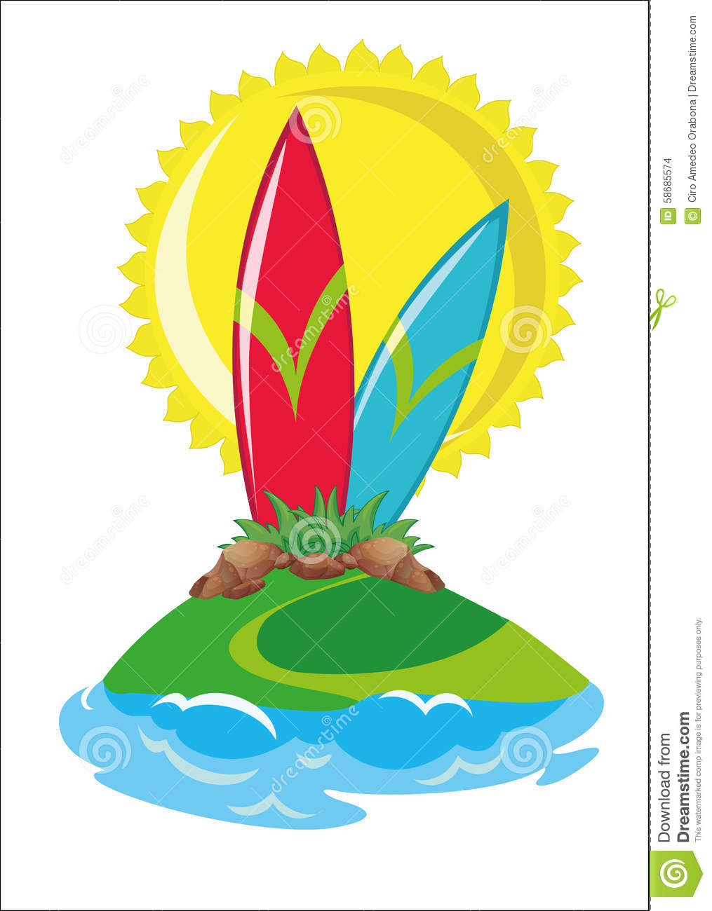 702f97b59dc Surf in island with sun and sea. More similar stock illustrations