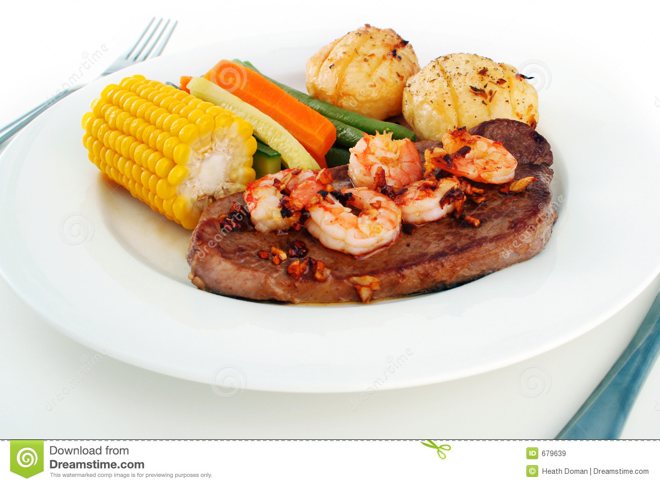 surf n 39 turf meal setting stock image image of plate prawns 679639. Black Bedroom Furniture Sets. Home Design Ideas