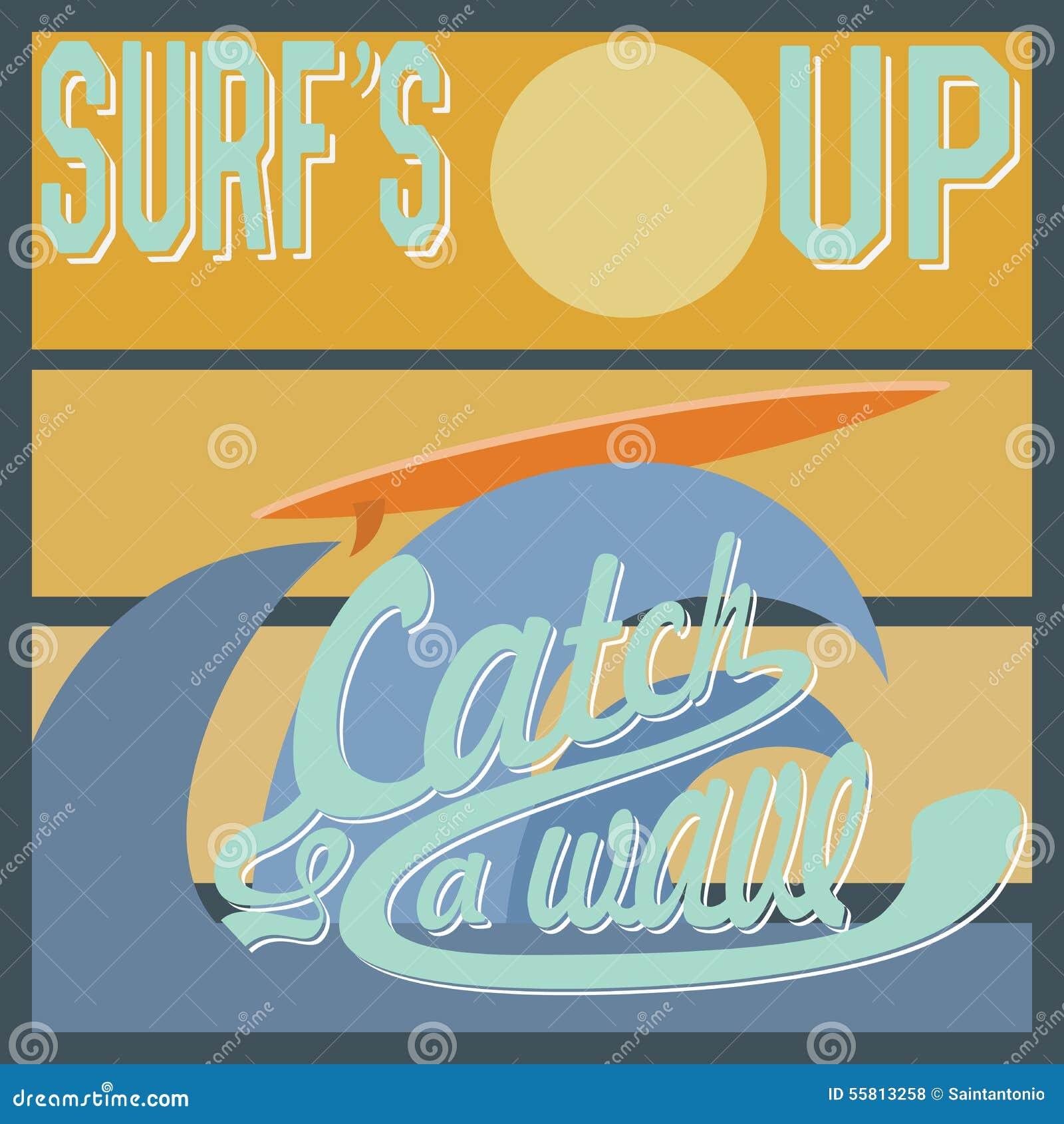 Shirt design san diego - Surf S Up Typography T Shirt Printing Design Graphics Retro Vintage Vector Poster