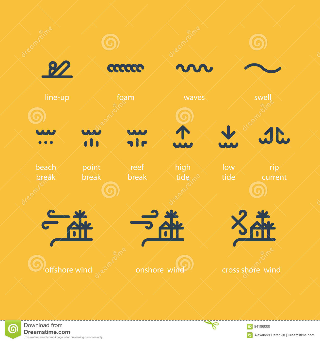 Low tide stock illustrations 189 low tide stock illustrations surf school icon set low high tide rip current offshore onshore wind biocorpaavc