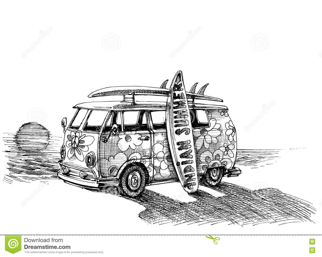 Drawing Lines Surf Movie : Surf van on the beach stock vector illustration of summer