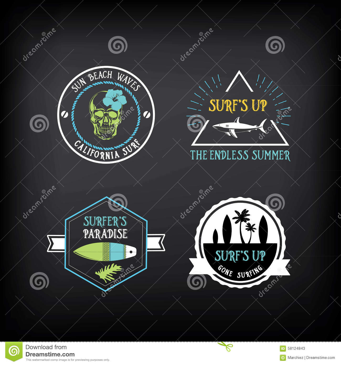 Surf Vintage Elements. Retro Logo Board. Vector With ...