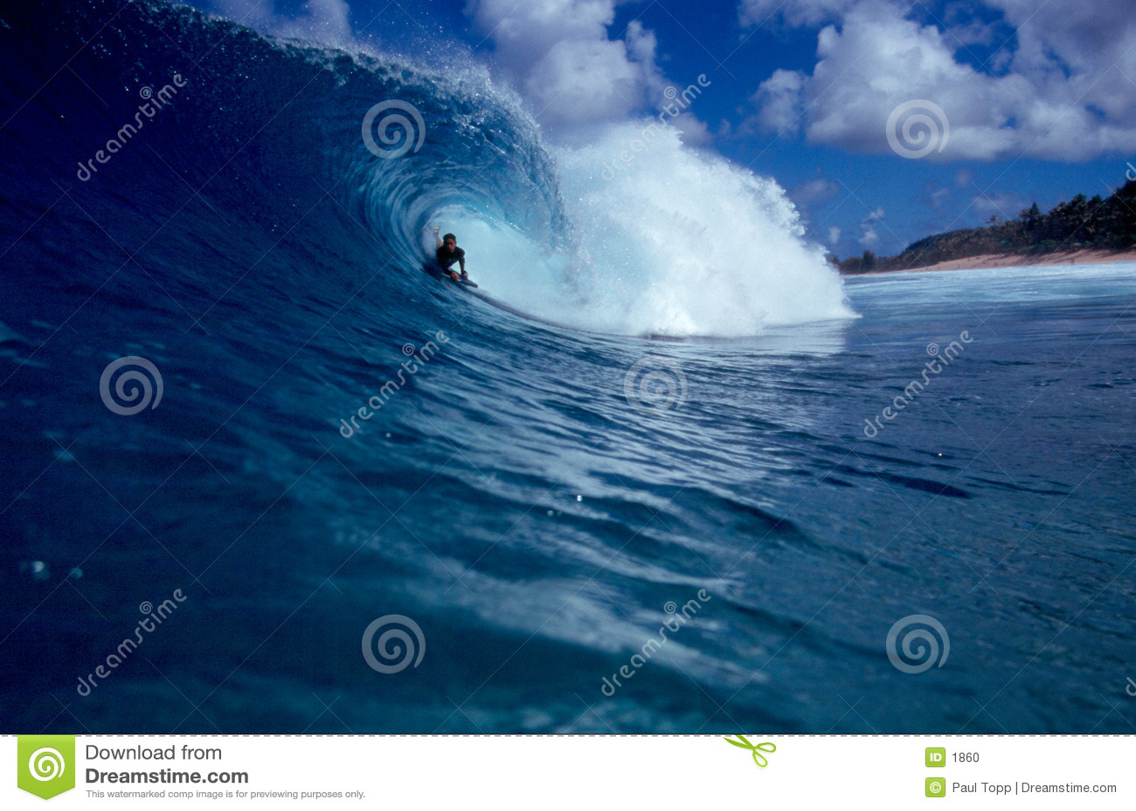 Surfa rörwave för stor blå bodyboarder