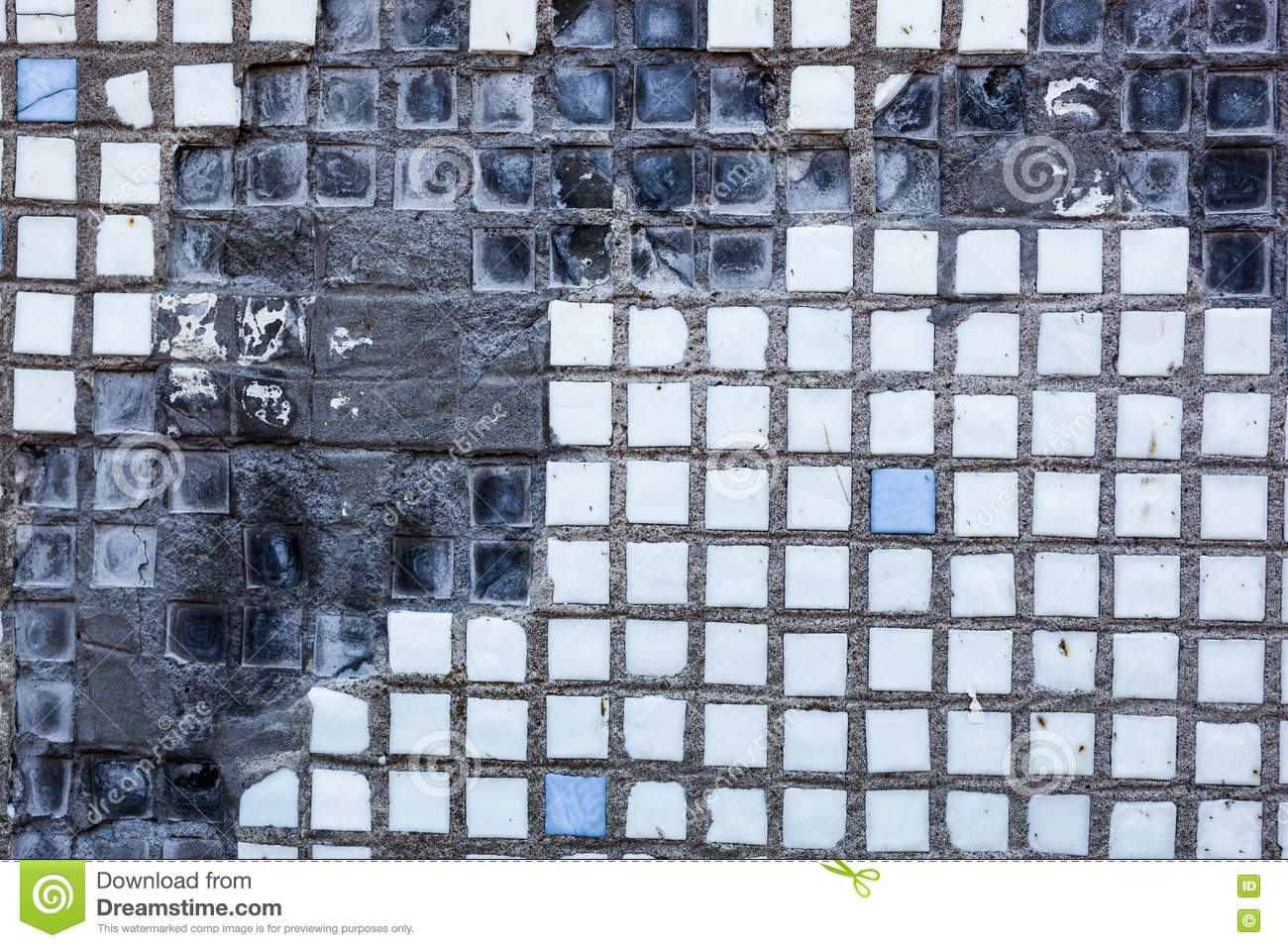 Surface Of The Old And Damaged Small Square Tiles Stock Photo ...