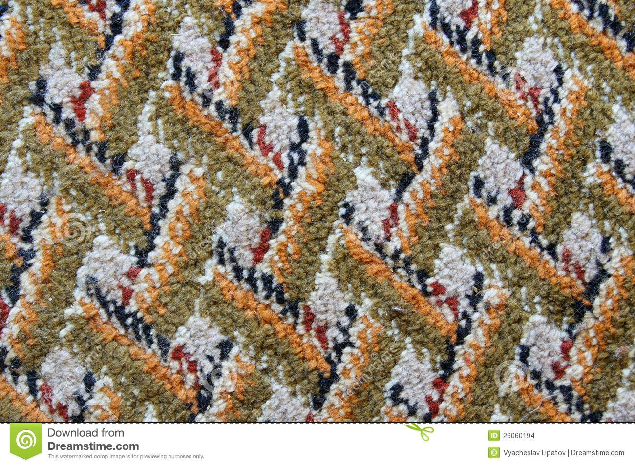 The surface of the patterned carpet